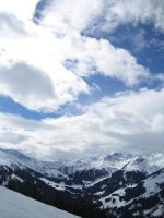 Zimní krajina oblasti Saalbach Hinterglemm